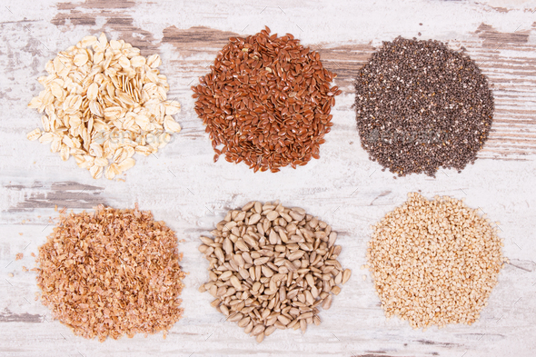 Healthy food containing natural vitamins and dietary fiber - Stock Photo - Images