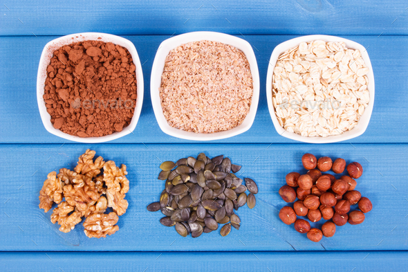 Healthy food containing copper, minerals and dietary fiber - Stock Photo - Images