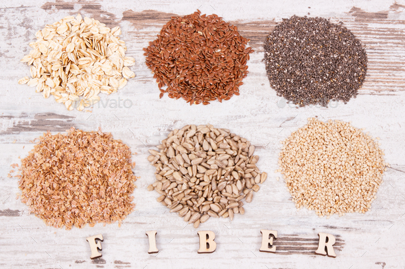 Healthy products and ingredients as source natural vitamins and dietary fiber - Stock Photo - Images