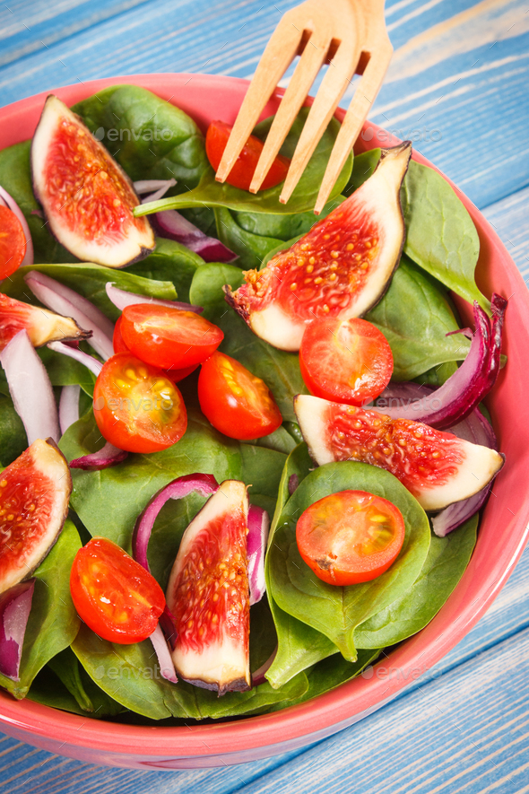 Fruit and vegetable salad with fork, healthy lifestyle and nutrition concept - Stock Photo - Images