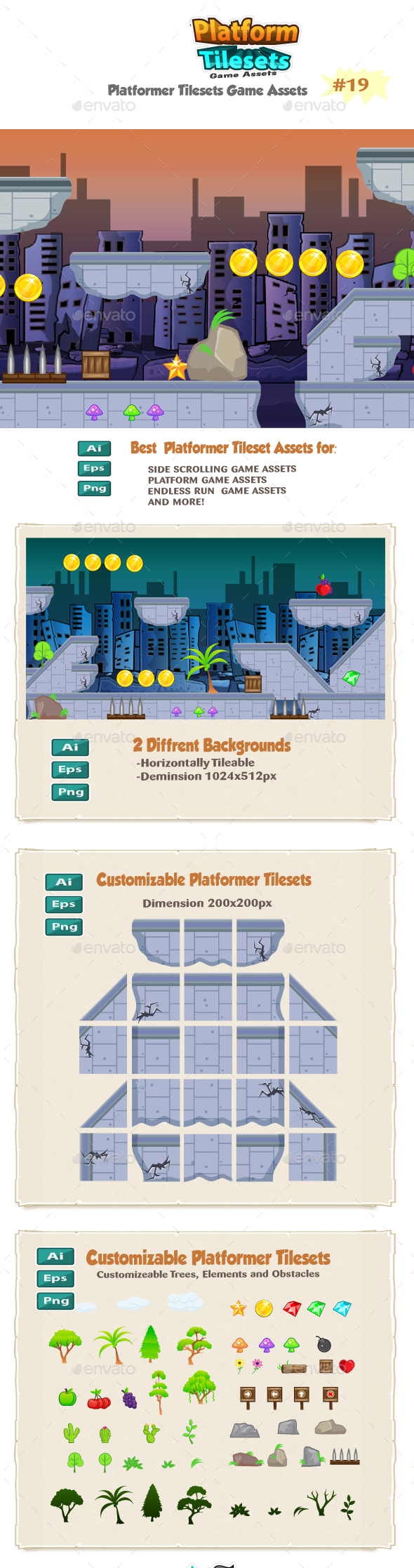 Destroyed City Game Platformer Tilesets 19 - Tilesets Game Assets