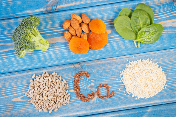 Ingredients containing calcium and dietary fiber, healthy nutrition - Stock Photo - Images