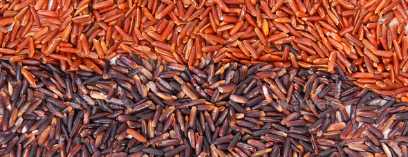 Heap of red and black rice as background, healthy nutrition concept - Stock Photo - Images