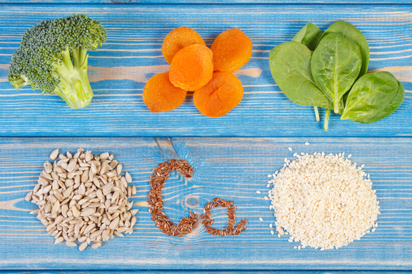 Healthy food containing calcium and dietary fiber - Stock Photo - Images