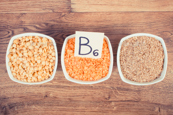 Products and ingredients containing vitamin B6 and dietary fiber, healthy nutrition concept - Stock Photo - Images
