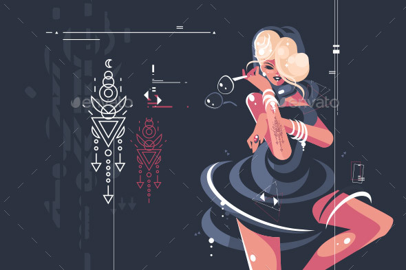 Girl in Dark Dress with Glasses - Miscellaneous Vectors