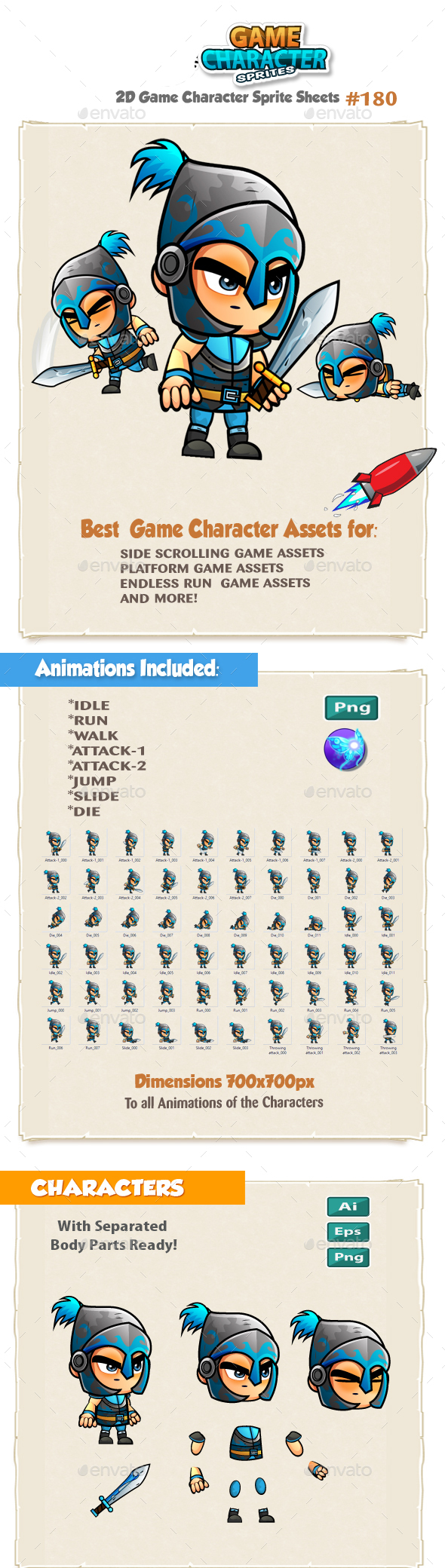 The Blue Knight 2D Game Character Sprites 180 - Sprites Game Assets