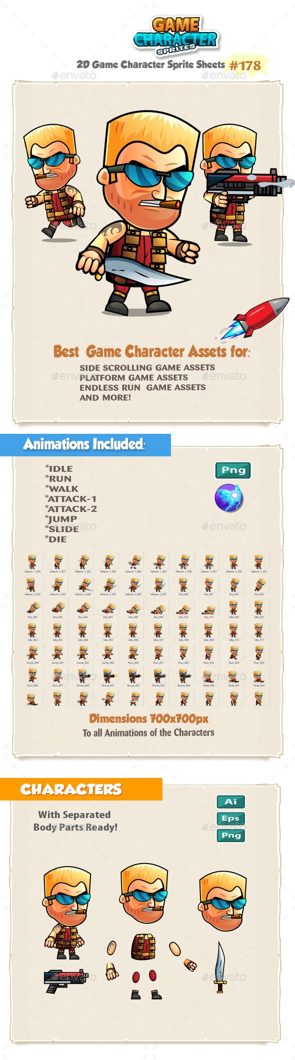 The Soldier 2D Game Character Sprites 178 - Sprites Game Assets