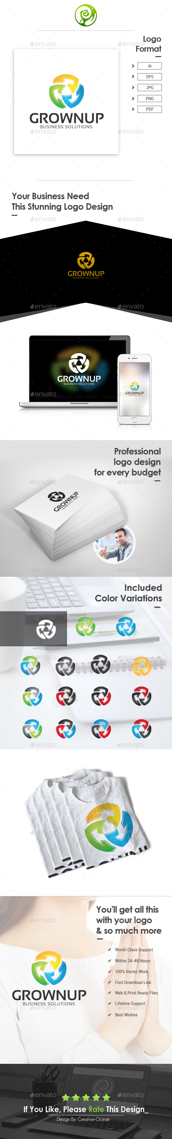 Grownup Business Solutions Logo - Letters Logo Templates