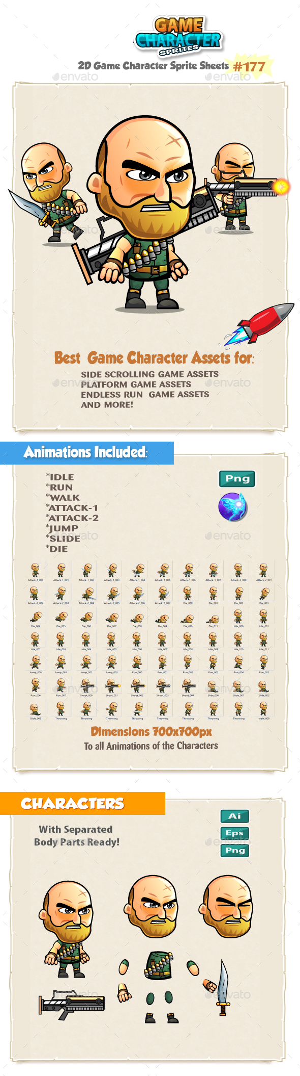 The Big Guy Warrior 2D Game Character Sprites 176 - Sprites Game Assets
