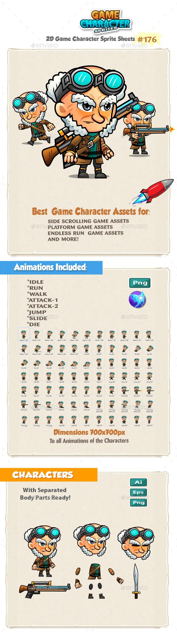 Sniper 2D Game Character Sprites 176 - Sprites Game Assets