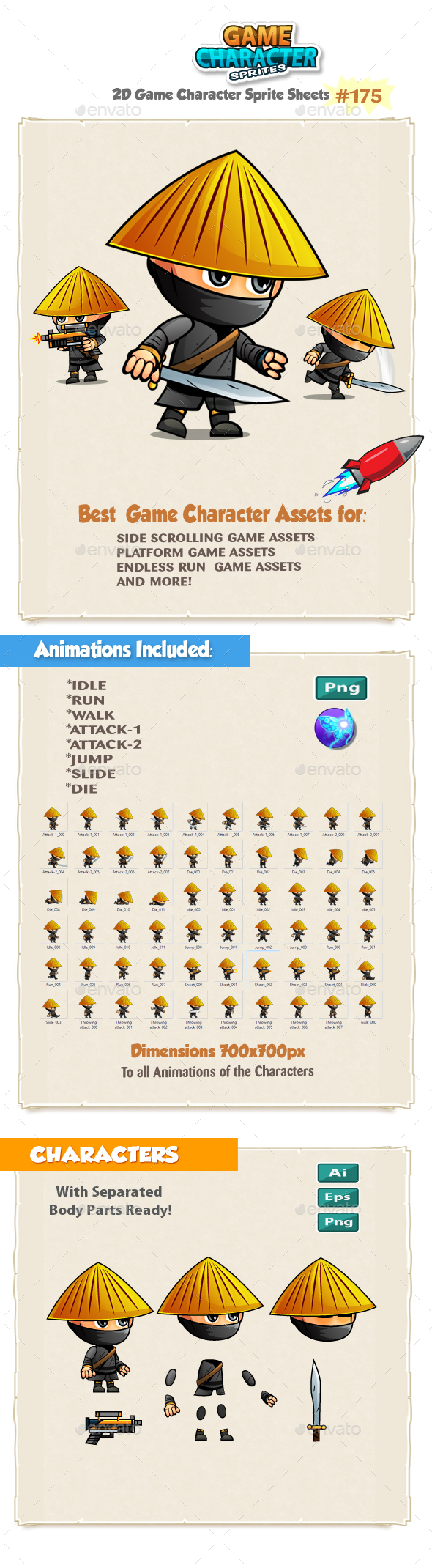 Samurai 2D Game Character Sprites 175. - Sprites Game Assets