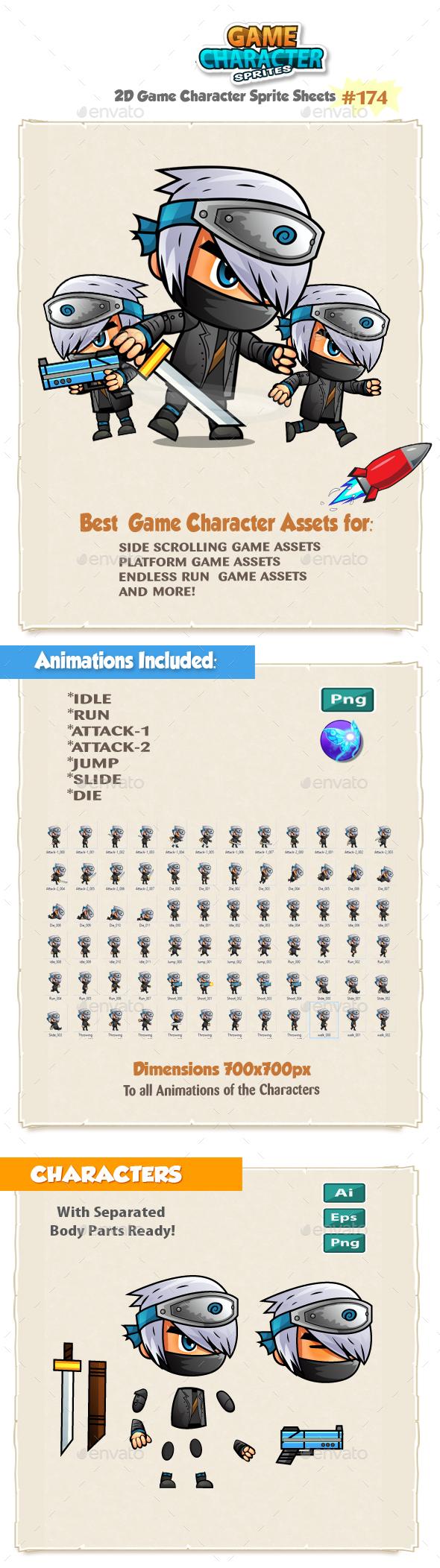 Ninja 2D Game Character Sprites 174 - Sprites Game Assets