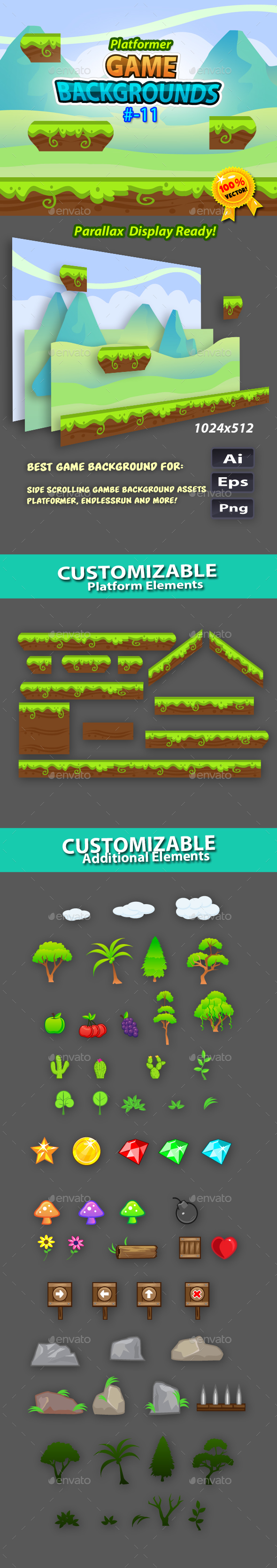 Plaftormer Game Backgrounds11 - Backgrounds Game Assets