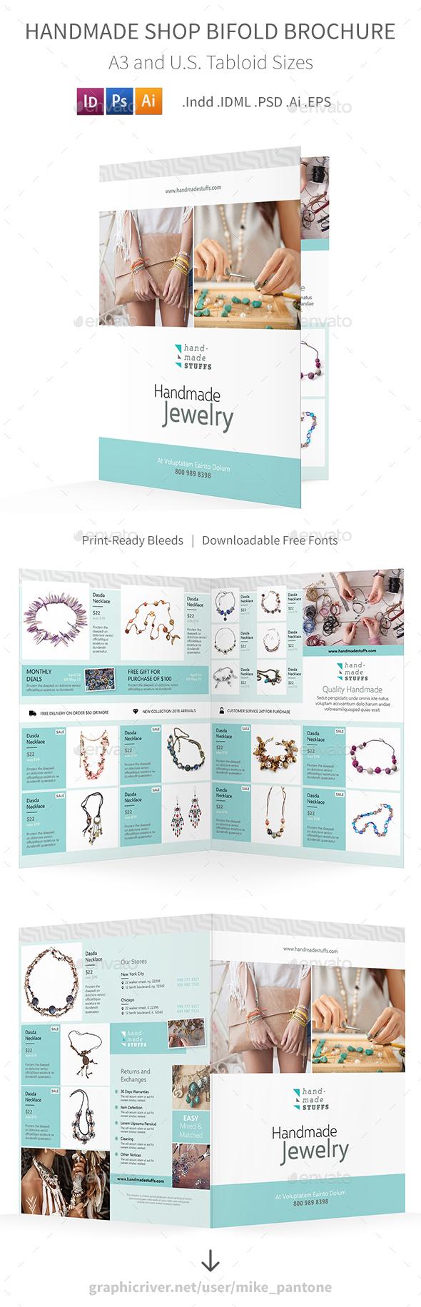 Handmade Shop Bifold / Halffold Brochure - Informational Brochures