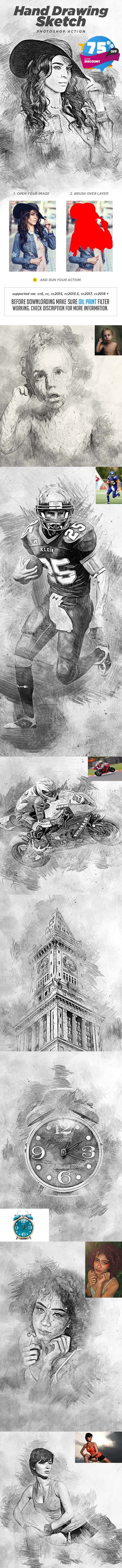 Hand Drawing Sketch Photoshop Action - Photo Effects Actions