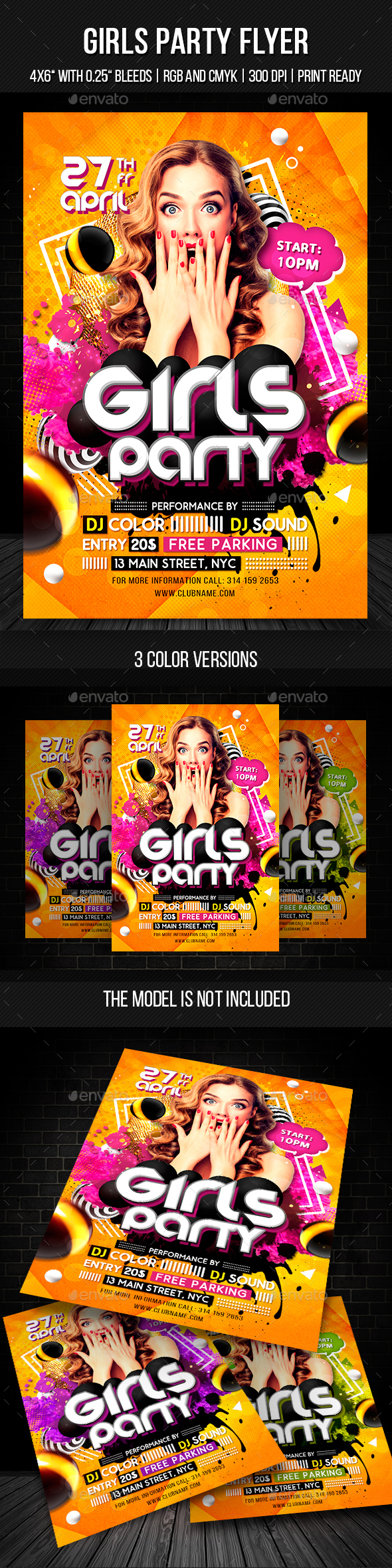 Girls Party Flyer Template - Clubs & Parties Events