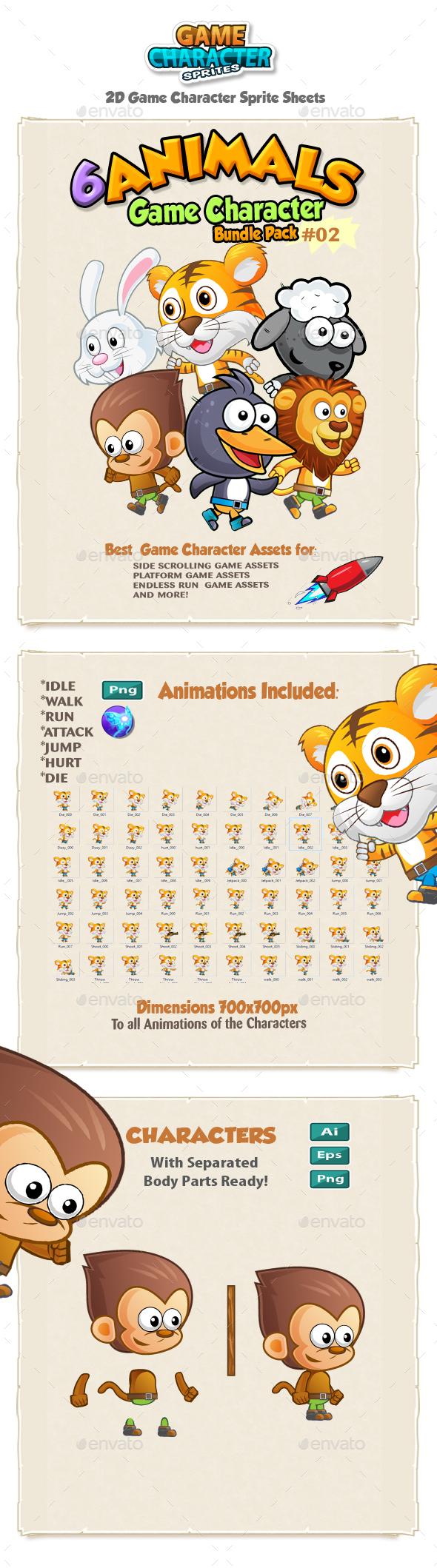 Animals 2D Game Character Sprites Bundle Pack 02 - Sprites Game Assets
