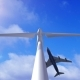 Wind Generator on a Background of a Sky and Plane - VideoHive Item for Sale