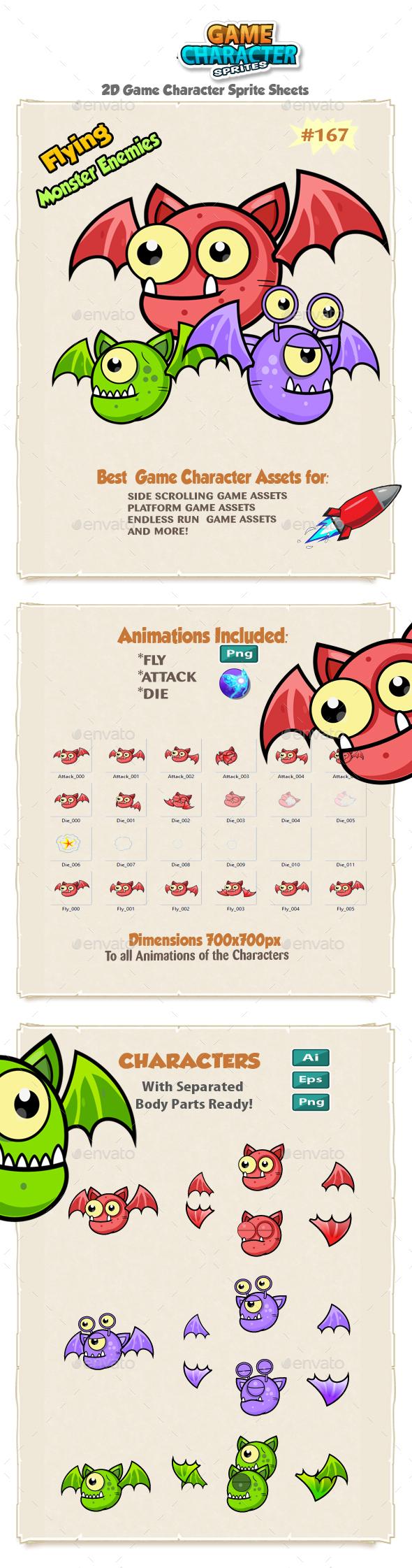 Flying Monster Enemies Game Character Sprites 167 - Sprites Game Assets