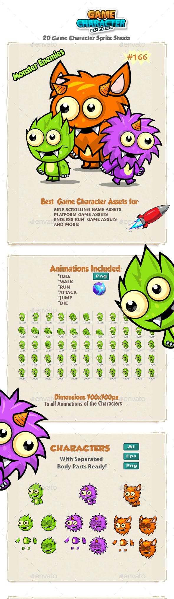 Monster Enemies 2D Game Character Sprites 166 - Sprites Game Assets