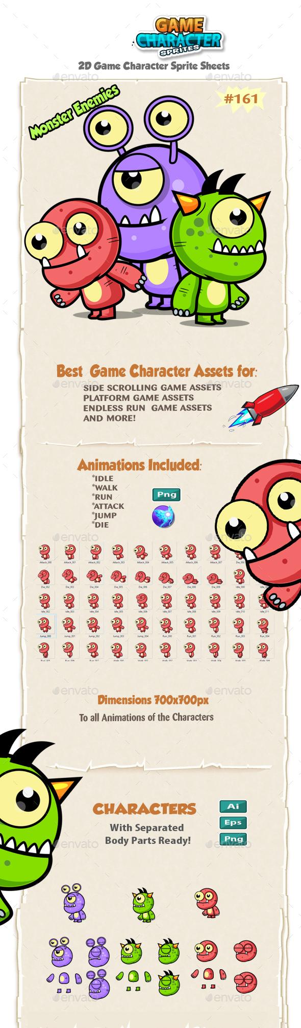 Monster Enemies 2D Game Character Sprites 161 - Sprites Game Assets
