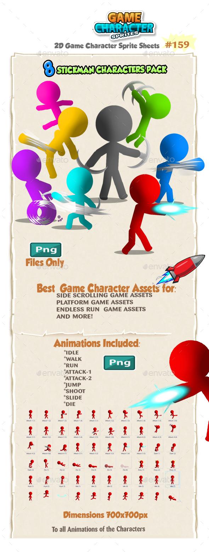 Stickman Character Sprites 159 - Sprites Game Assets