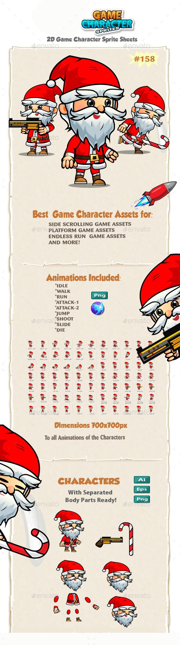 Santa 2D Game Character Sprites 158 - Sprites Game Assets