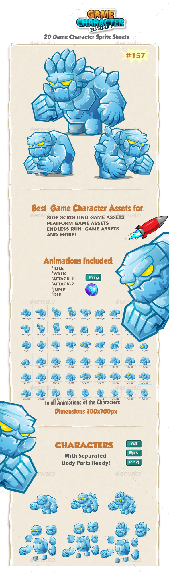 Monster Ice Giant 2D Game Character Sprites 157 - Sprites Game Assets