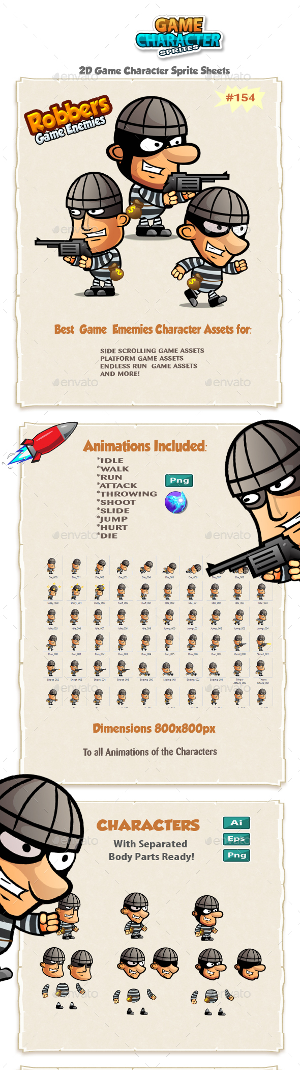 The Robbers 2D Game Characters sprites 154 - Sprites Game Assets