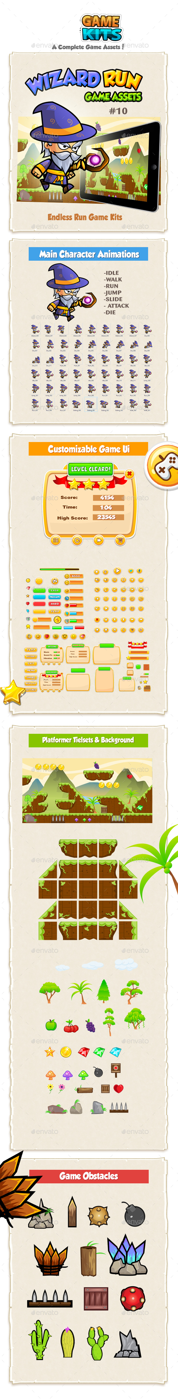 Wizard Run Game Assets 10 - Game Kits Game Assets