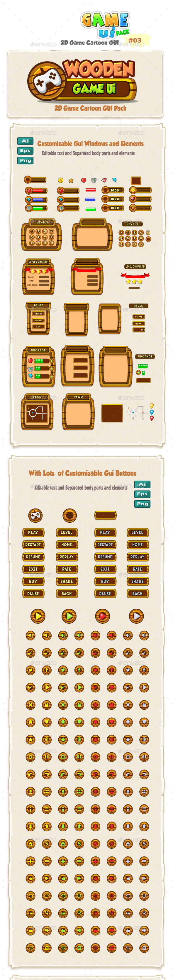 Wooden Cartoon Game Ui Pack 03 - User Interfaces Game Assets