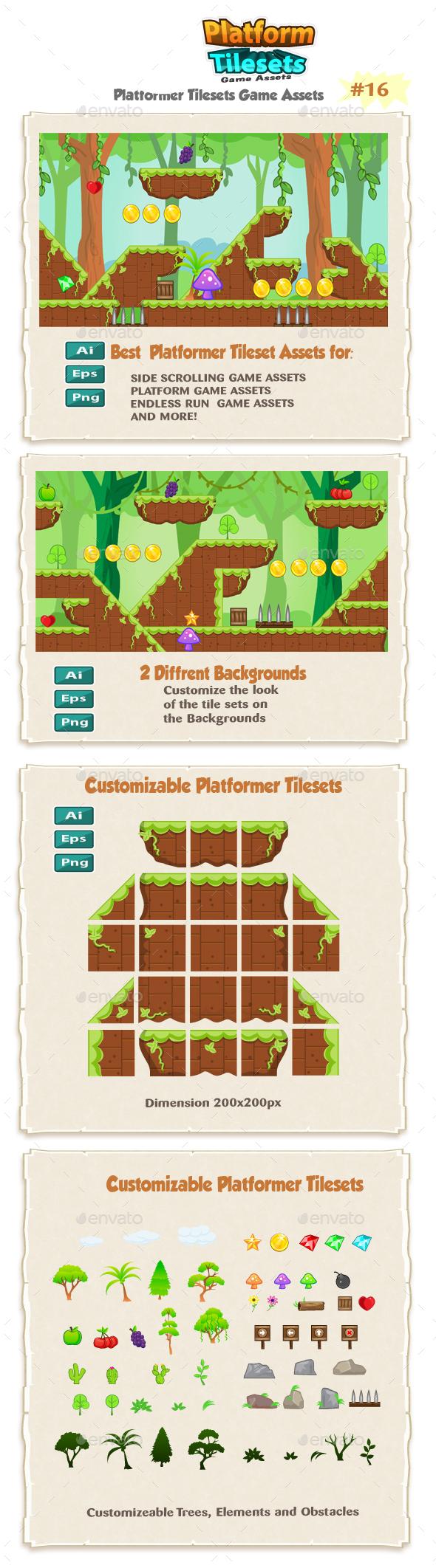 Jungle Platformer Game Tilesets 16 - Tilesets Game Assets