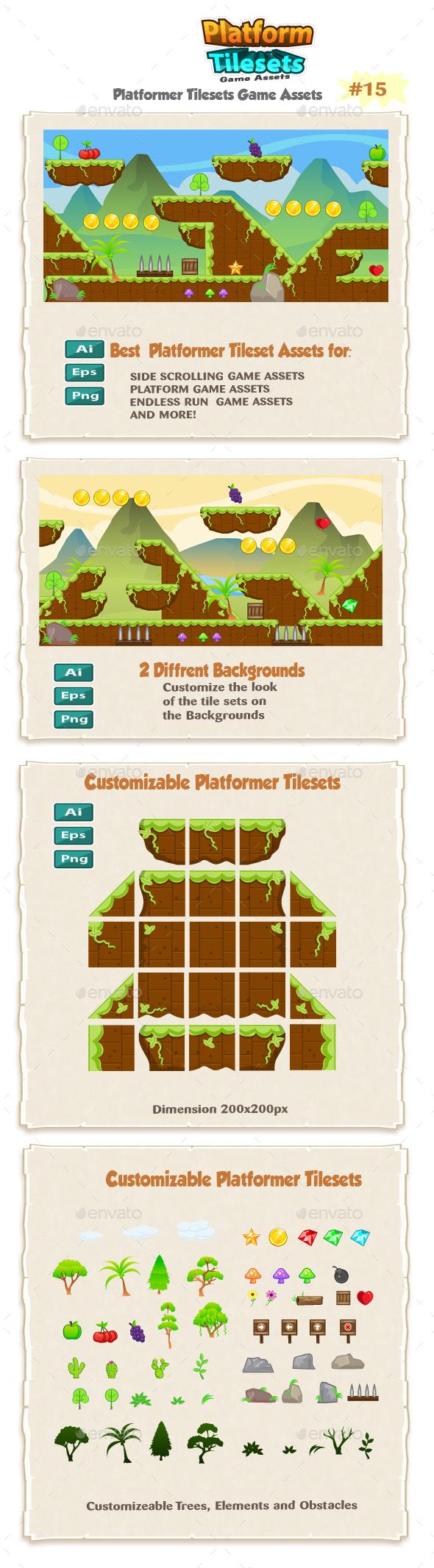 Mountains Platformer Game Tilesets 13 - Tilesets Game Assets