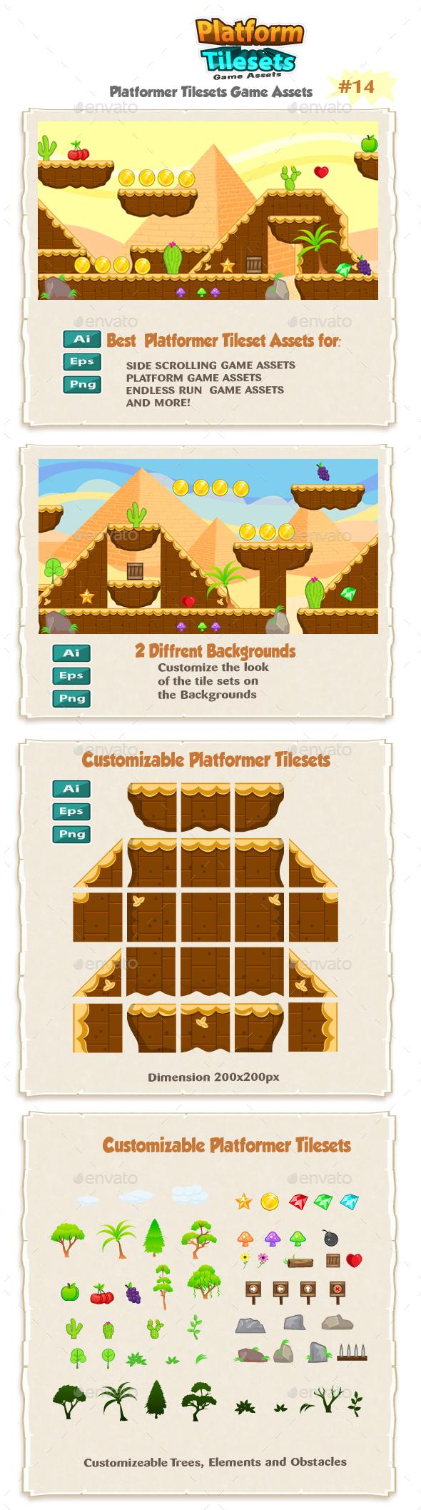 Egyptians Platformer Tilesets 14 - Tilesets Game Assets