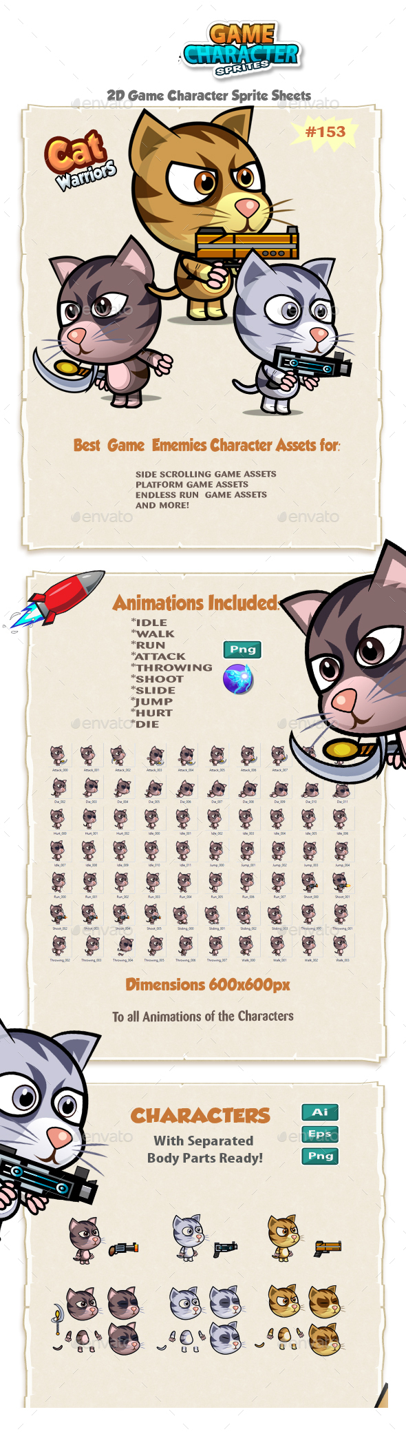 Cutie Cats 2D Game Character Sprites 153 - Sprites Game Assets