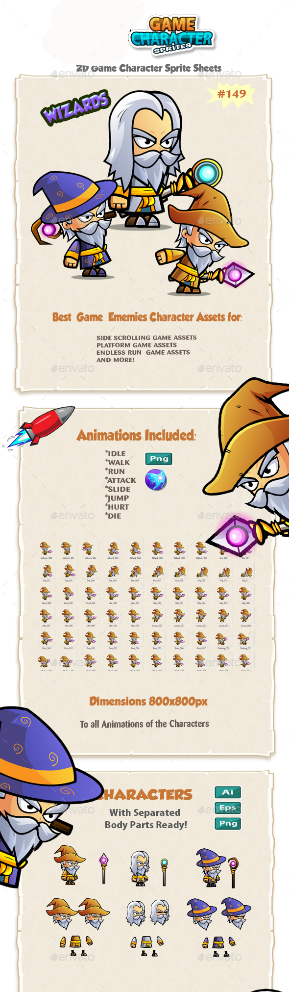 The Wizards 2D Game Character Sprites 149 - Sprites Game Assets