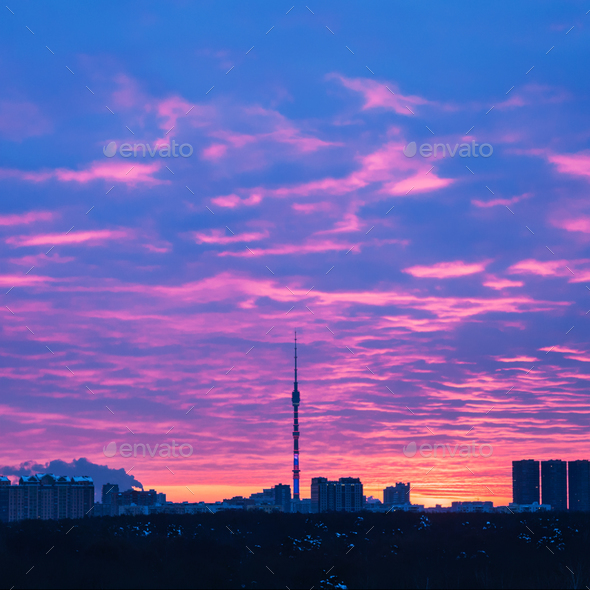 Moscow skyline with TV Tower at sunrise - Stock Photo - Images