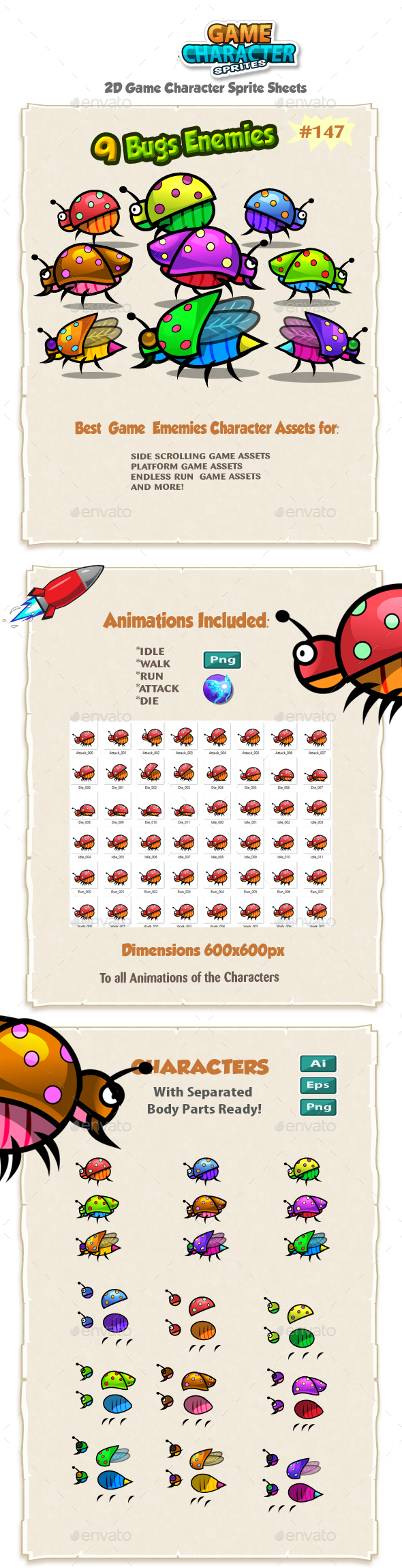 Bugs 2D Game Chracter Sprites 147 - Sprites Game Assets