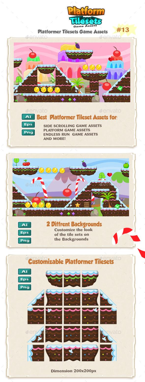 Candy World Platformer Game Tilesets 13 - Tilesets Game Assets