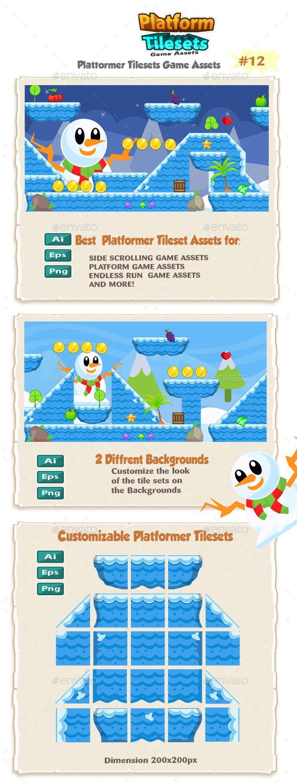 Snow Platformer Game Tilesets 12 - Tilesets Game Assets