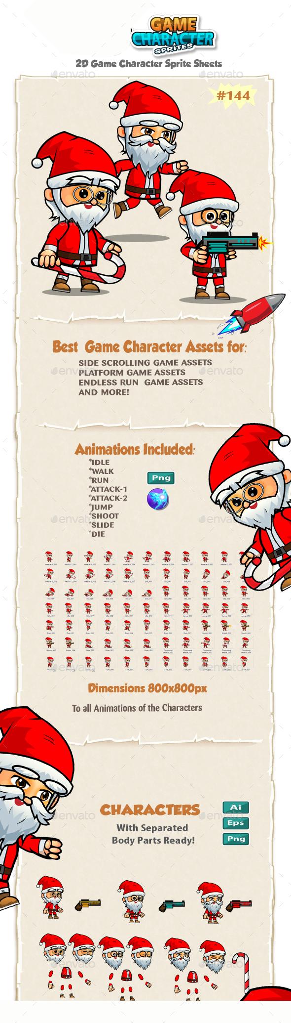 Santa 2D Game Character Sprites 144 - Sprites Game Assets