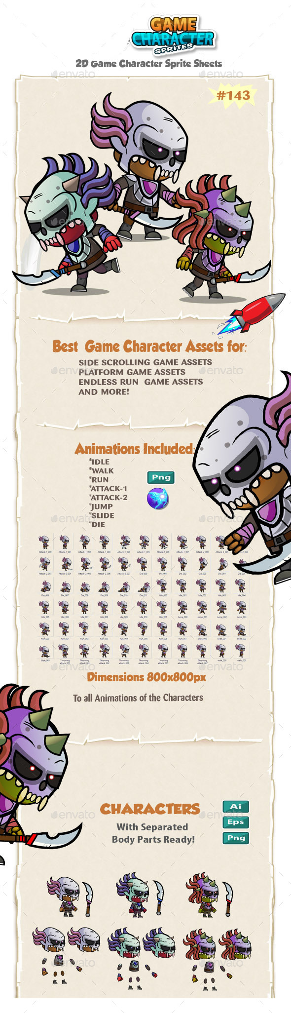 Game Enemies Character Sprites 143 - Sprites Game Assets
