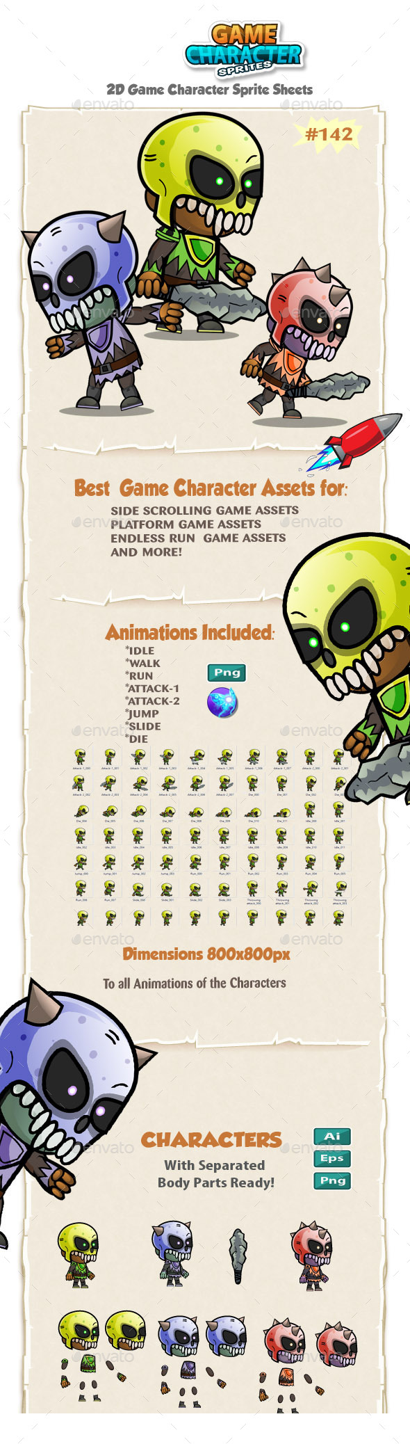 Game Enemies Character Sprites 142 - Sprites Game Assets