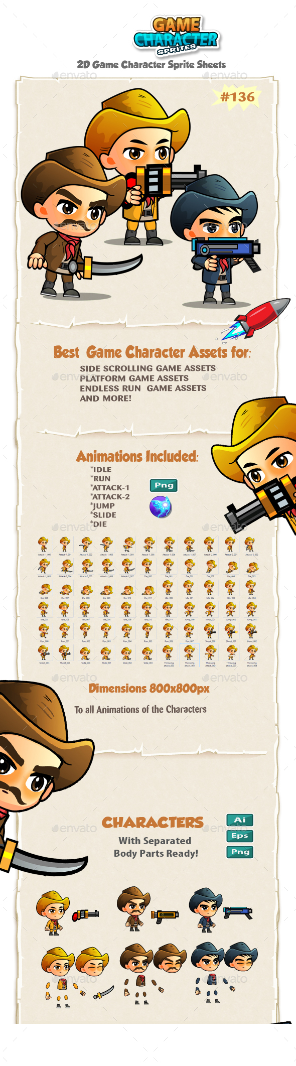 Cowboys 2D Game Character Sprites 137 - Sprites Game Assets
