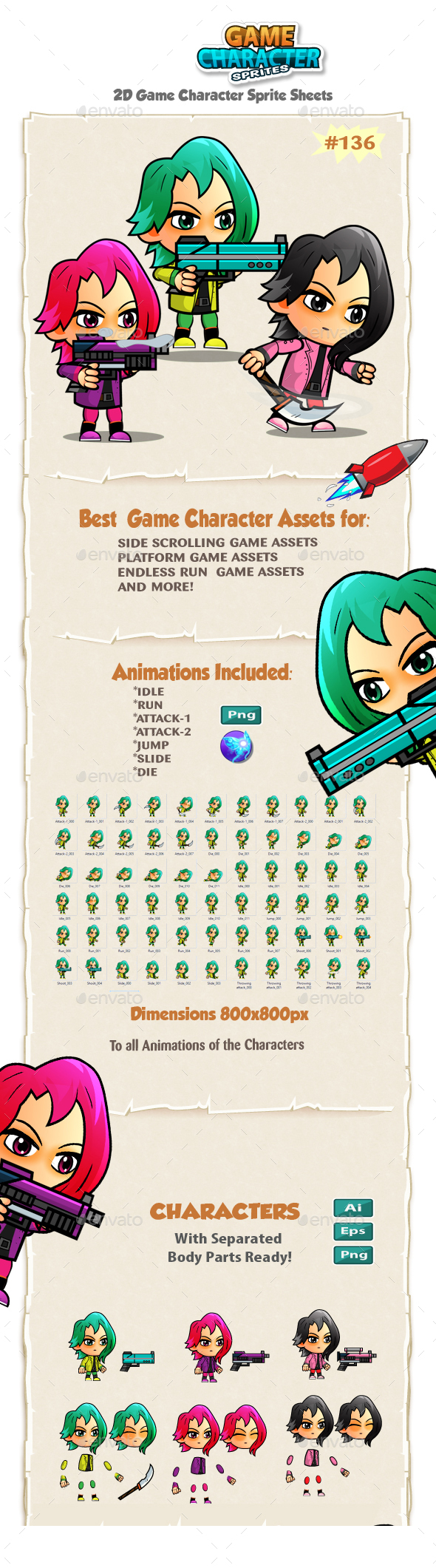 Assassin Girls Game Character Sprites 135 - Sprites Game Assets