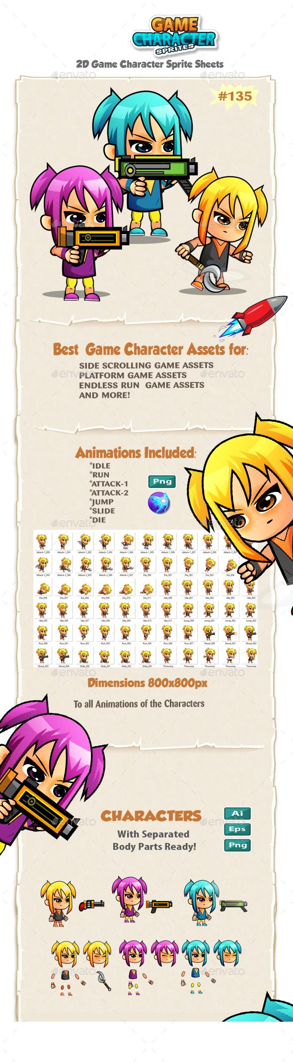 Adventurer Girls 2D Game Character Sprites 135 - Sprites Game Assets