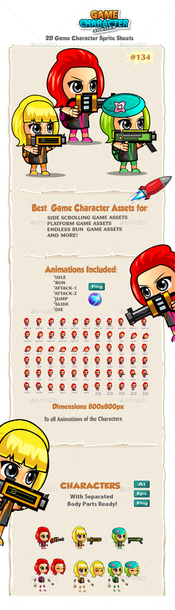 Girl Warriors 2D Game Character Sprites 134 - Sprites Game Assets