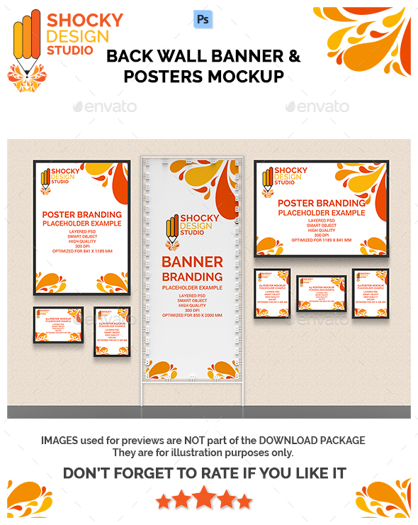 Back Wall Banner & Posters Mock-Up - Multiple Displays