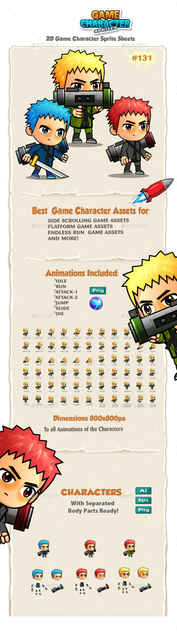 2D Game Character Sprites 131 - Sprites Game Assets